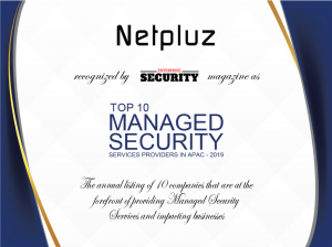 Netpluz Top 10 Managed Security Service Providers APAC 2019 award