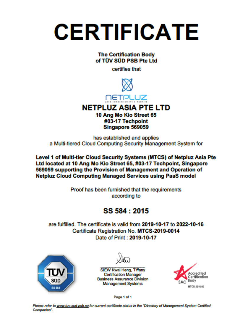 Netpluz is now MTCS Certified Compliant