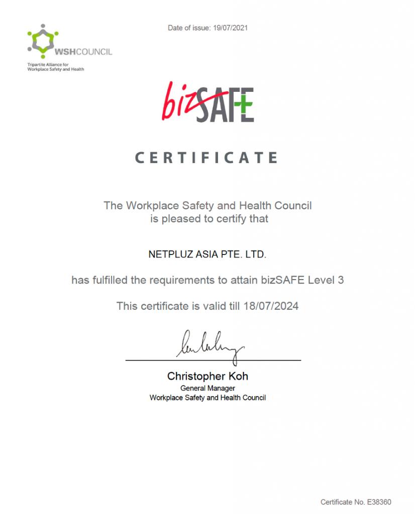 Netpluz Bizsafe 3 certification
